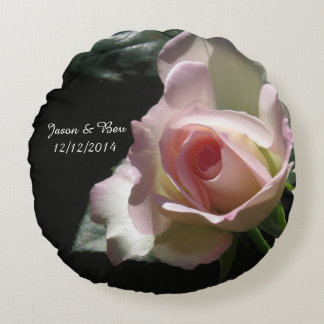 Pink Wedding Rose Round Pillow