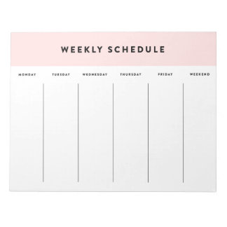 Pink Weekly Schedule Notepad
