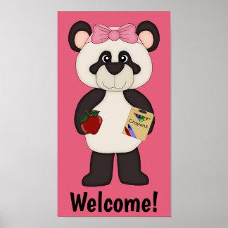 Pink Welcome School Girl Panda Poster