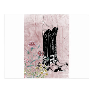 Pink Western Cowgirl Boots Flowers Postcard
