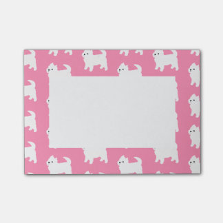 Pink Westie Pattern - West Highland Terrier Dogs Post-it Notes