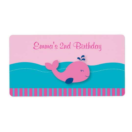 Pink Whale Birthday Water Bottle Labels