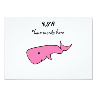 Pink whale 3.5x5 paper invitation card