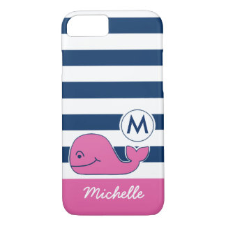 Pink Whale & Navy Stripes iPhone 7 Case