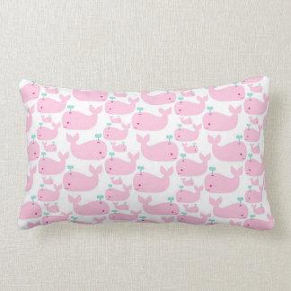 Pink Whale Nursery Print Lumbar Pillow