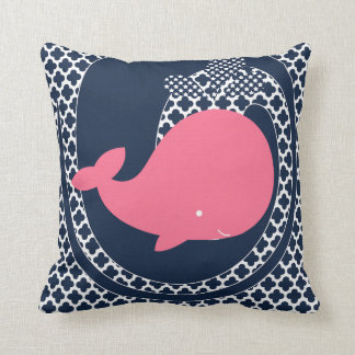 Pink Whale on Navy Blue Throw Pillow