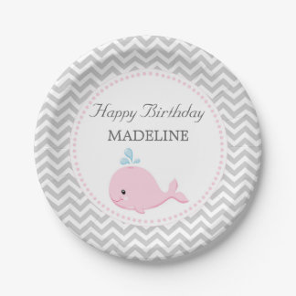 Pink Whale Paper Plates 7 Inch Paper Plate
