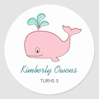 Pink Whale Party Sticker Tags / Cupcake Toppers