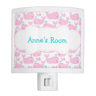 Pink Whale Personalized Nite Lites