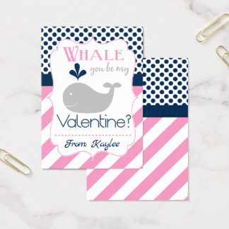 Pink Whale You Be My Valentine Business Card