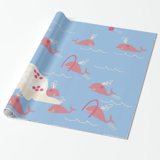 Pink whales frollicking in the ocean giftwrap wrapping paper