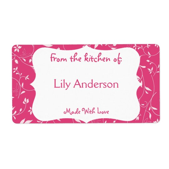 Pink Whimsical Canning Label Shipping Label