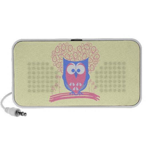 Pink Whimsical Cute Owl Doodle Speaker