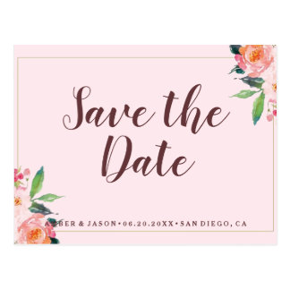 Pink Whimsical Floral Watercolor Save the Date Postcard