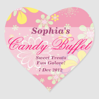 Pink Whimsical Flower Candy Buffet Sticker