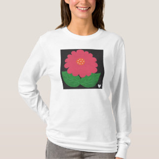 Pink WHIMSICAL FLOWER White Women's LS T-Shirt