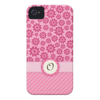 Pink whimsical flowers monogram  iPhone 4 case