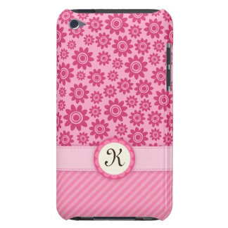 Pink whimsical flowers monogram iPod touch case