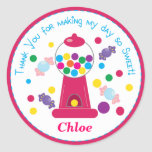 Pink Whimsical Gumball Party Sticker