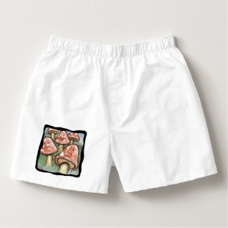 Pink Whimsical Mushroom Faces Boxers