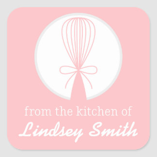 Pink Whisk Silhouette Kitchen Labels Square Sticker