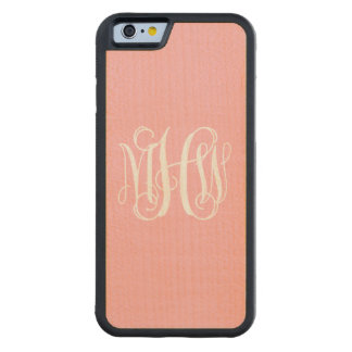 Pink White 3 Initials Vine Script Monogram Carved® Maple iPhone 6 Bumper Case