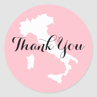 Pink White and Black Italy Wedding Thank You Round Sticker