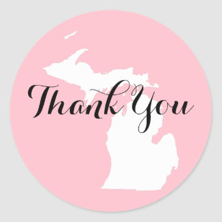 Pink White and Black Michigan Wedding Thank You Round Sticker