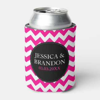 Pink White And Black Monogram Chevron Pattern 2 Can Cooler