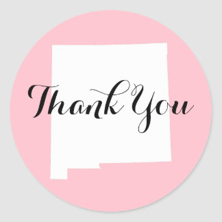 Pink White and Black New Mexico Wedding Thank You Classic Round Sticker