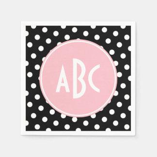 Pink White and Black Polka Dot Monogram Disposable Napkin
