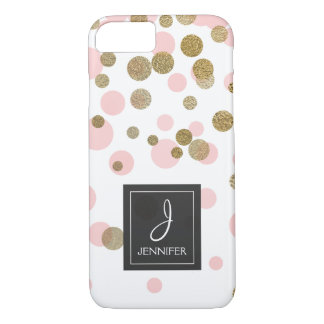 Pink, White and Gold Foil Confetti Monogram iPhone 8/7 Case