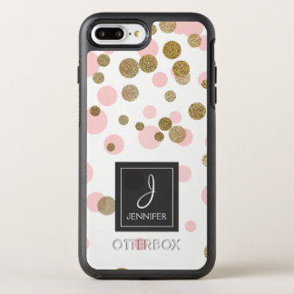 Pink, White and Gold Foil Confetti Monogram OtterBox Symmetry iPhone 8 Plus/7 Plus Case
