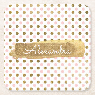 Pink, White and Gold Foil Polka Dot Name Square Paper Coaster