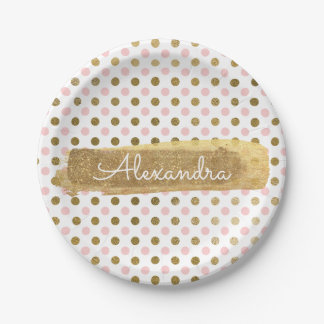 Pink, White and Gold Foil Polka Dot & Stripe Paper Plate