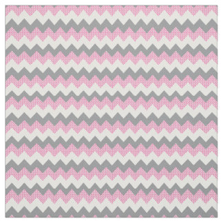 Pink, White and Gray Chevron Pattern Fabric