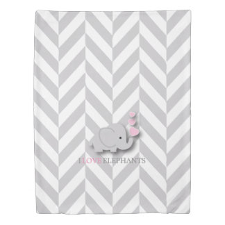 Pink, White and Gray Elephant Theme Duvet Cover