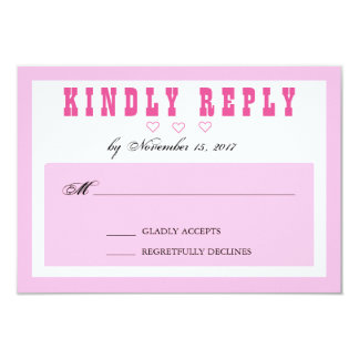 """Pink, White and Heart Simple Wedding RSVP Card 3.5"""" X 5"""" Invitation Card"""