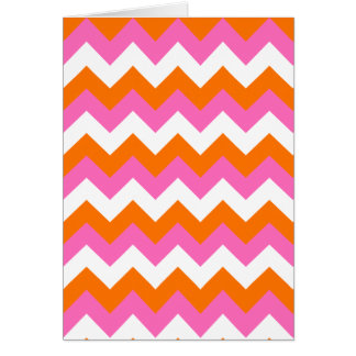 Pink White and Orange Zigzag Card