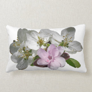 Pink White Apple Blossoms accent Lumbar Pillow