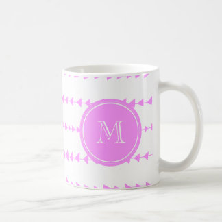Pink White Aztec Arrows Monogram Coffee Mug