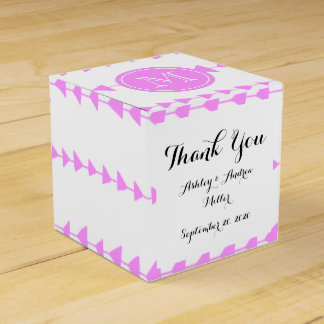 Pink White Aztec Arrows Monogram Favor Box