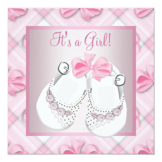 "Pink White Baby Shoes Pink Baby Girl Shower 5.25"" Square Invitation Card"