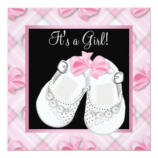 "Pink White Baby Shoes Pink Black Baby Girl Shower 5.25"" Square Invitation Card"