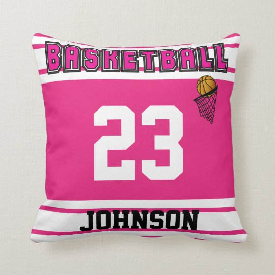 Pink & White Basketball Sport | DIY Name & Number Throw Pillow