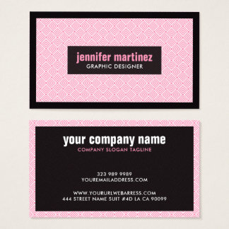 Pink White & Black ArtDeco Geometric Pattern Business Card