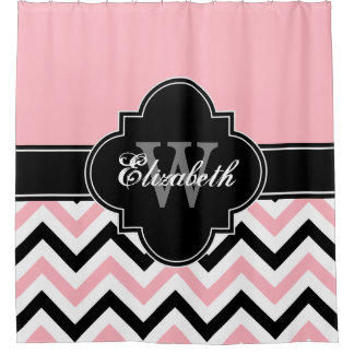 Pink White Black LG Chevron 1ICBR Name Monogram