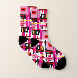 Pink White Black Red Abstract Pattern Socks 1