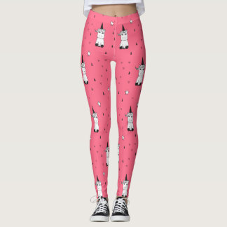 Pink, White, & Black Unicorn Leggings