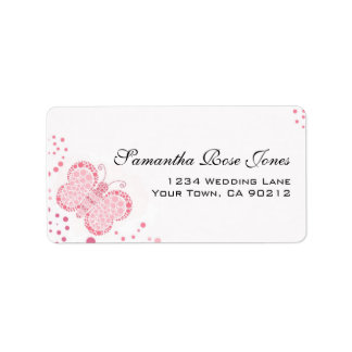 Pink & White Butterfly Pointillism Custom Address